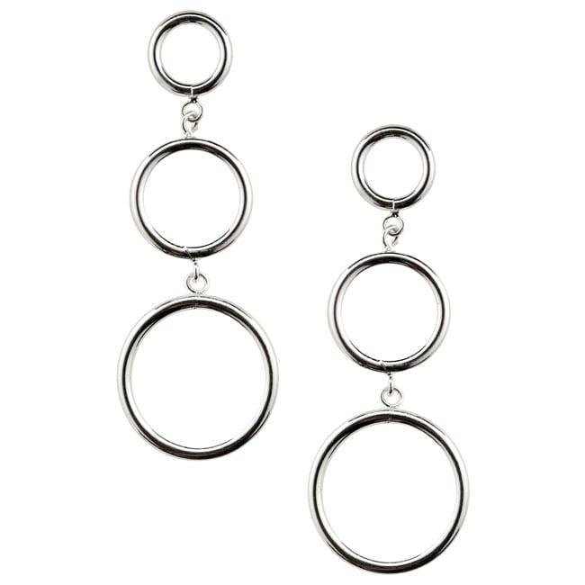 Mondevio Sterling Silver Three Circle Drop Hoop Earrings