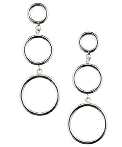 Mondevio Sterling Silver Three-circle Drop Hoop Earrings