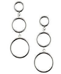 Mondevio Sterling Silver Three-circle Drop Hoop Earrings