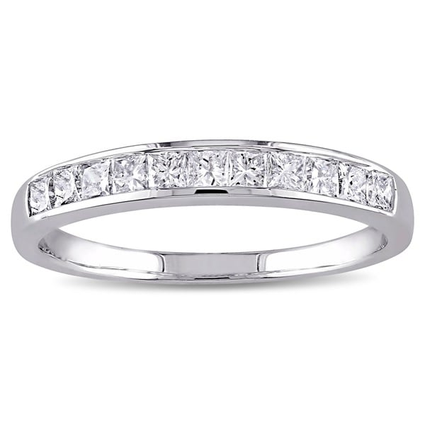 Miadora 14k White Gold 1/2ct TDW IGL-certified Princess Channel-set Diamond Wedding Band