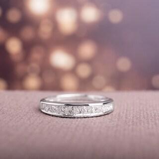 Miadora 14k White Gold 1/2ct TDW IGL-certified Princess Channel-set Diamond Wedding Band (G-H, I1-I2)
