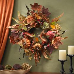 Pumpkin and Berry 24-inch Wreath