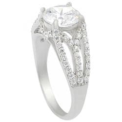 Journee Sterling Silver Round-cut CZ Ring - Thumbnail 1