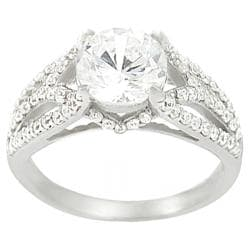 Journee Sterling Silver Round-cut CZ Ring - Thumbnail 0