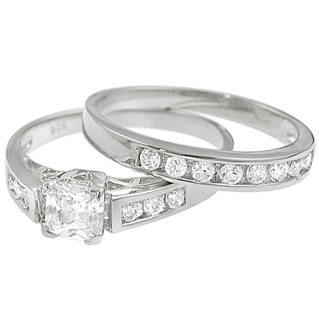 Journee Collection Sterling Silver Square-cut Cubic Zirconia Bridal Ring Set