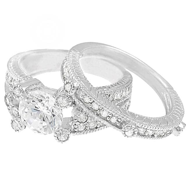 Journee Collection Sterling Silver Round-cut Pave-set Cubic Zirconia Bridal Ring Set