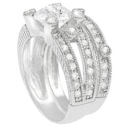 Journee Collection Sterling Silver Round-cut Pave-set Cubic Zirconia Bridal Ring Set - Thumbnail 1