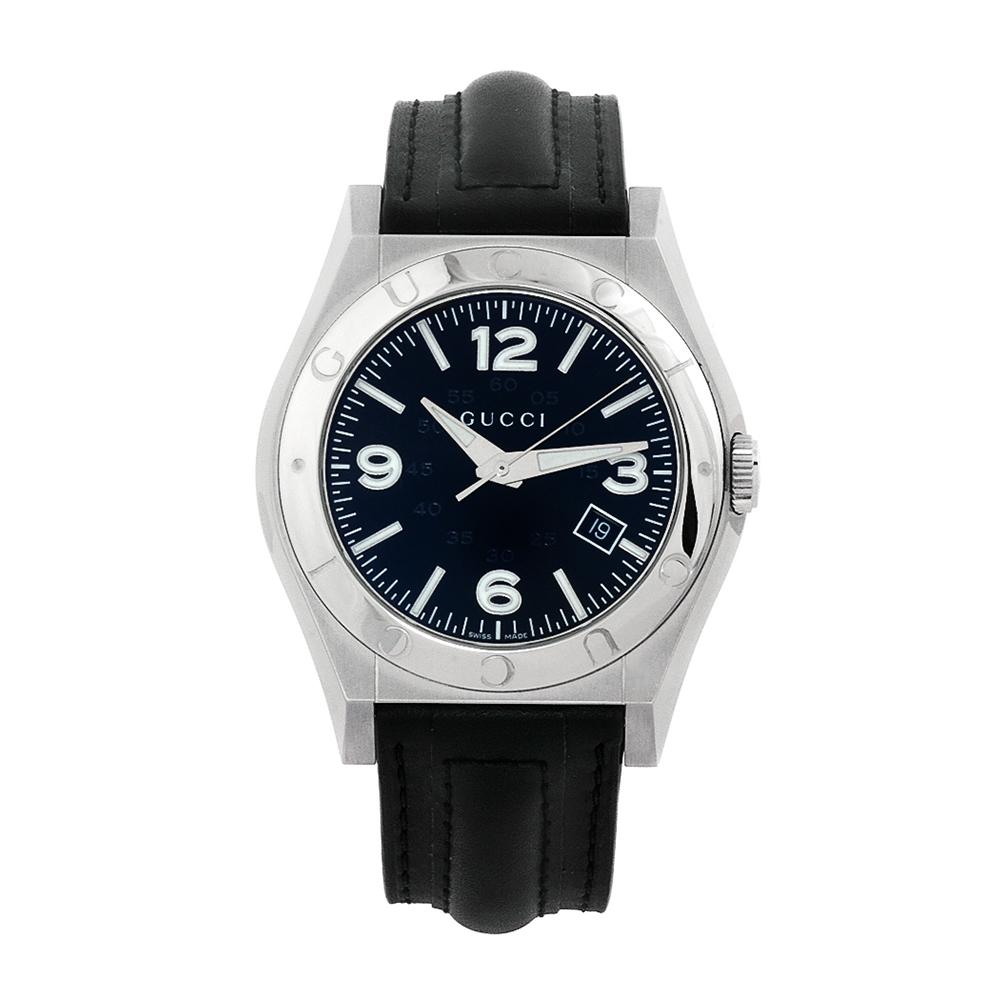 896a10e8340 Shop Gucci Men s Pantheon Black Leather Strap Watch - Free Shipping Today -  Overstock - 5316643