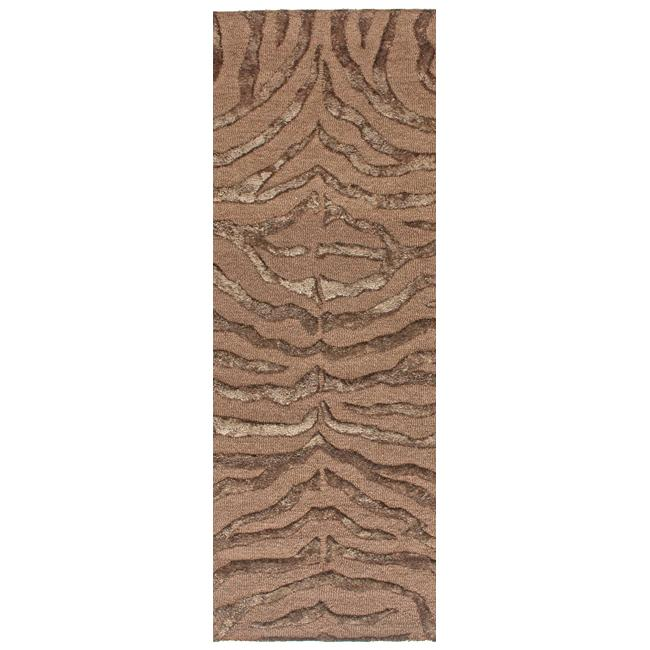 NuLOOM Handmade Zebra Brown Wool/ Viscose Runner (2'6 X 8