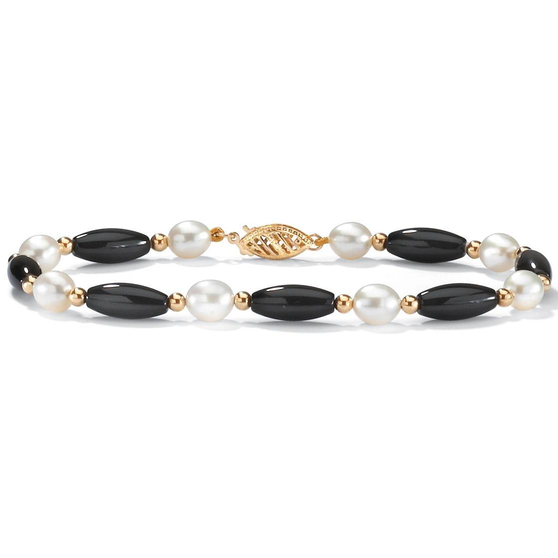 Angelina D'Andrea Onyx/Pearl Tube 7.5-inch Bracelet