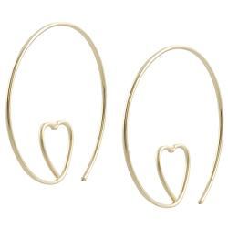 Goldfill and Alloy Heart Spiral Hoop Earrings