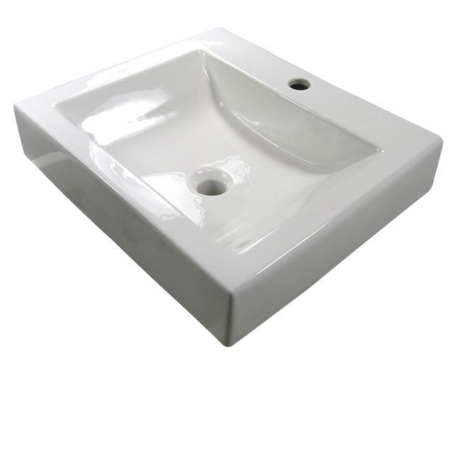 Denovo semi recessed white porcelain topmount sink with single hole