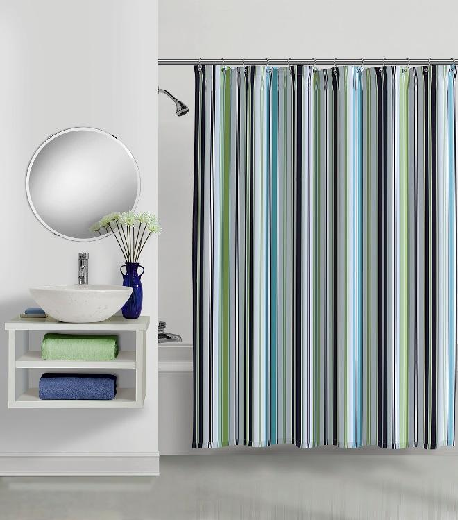 Shop Circus Stripe Navy Cotton Shower Curtain