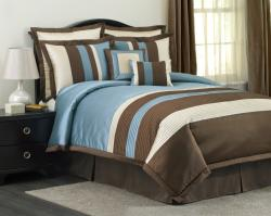 Lush Decor Blue/ Brown Modern Stripe 8-piece Comforter Set - Thumbnail 1