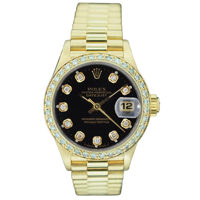 Pre-owned Rolex Women's President 18k Gold Black Diamond Dial Watch