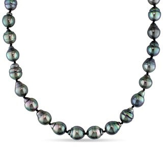 Miadora 14k White Gold Cultured Tahitian Pearl Necklace (8-9.5 mm)