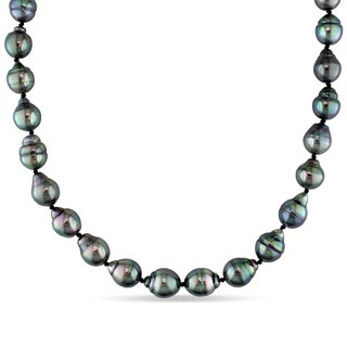 Miadora 14k White Gold Cultured Black Tahitian Pearl Necklace (8-9.5 mm)