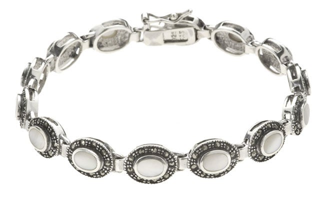 Glitzy Rocks Sterling Silver Marcasite Mother of Pearl Bracelet