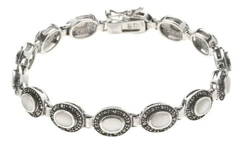 Glitzy Rocks Sterling Silver Marcasite Mother of Pearl Bracelet