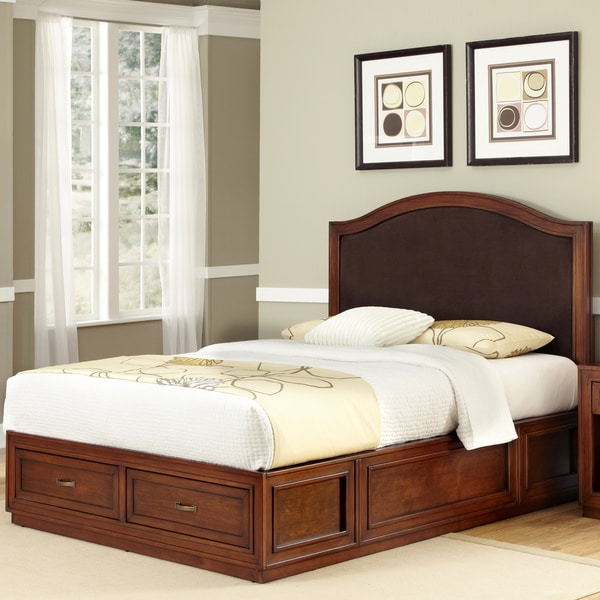 Duet Mahogany Platform King Camelback Microfiber Inset Bed by Home Styles