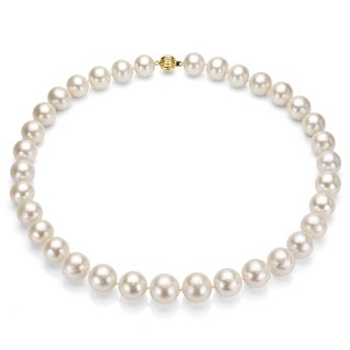 """DaVonna 14k Yellow Gold 11-12mm White High Luster Freshwater Pearl Necklace 18"""""""