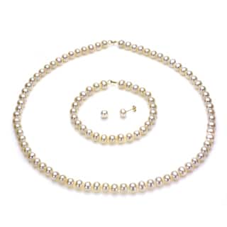 DaVonna 14k Yellow Gold 6-7mm White Freshwater Pearl Necklace Bracelet and Earring Set|https://ak1.ostkcdn.com/images/products/71072/71072/DaVonna-14k-Gold-White-FW-Pearl-Necklace-Bracelet-and-Earring-Set-6-6.5-mm-P921156.jpg?impolicy=medium