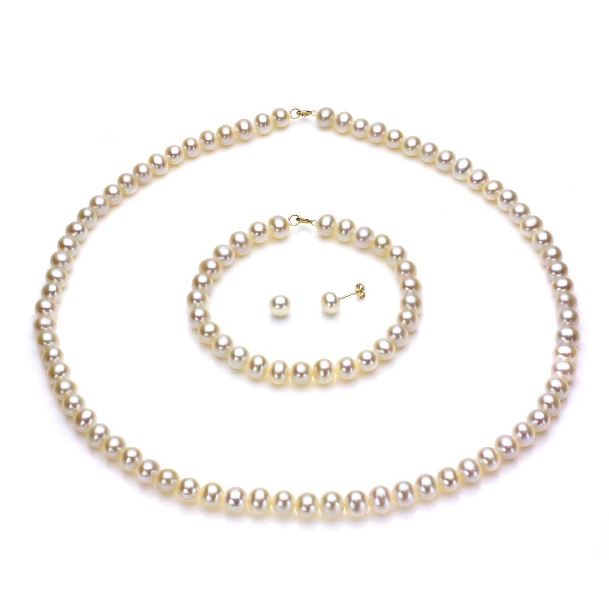 14K White-Pearl Necklace or Bracelet