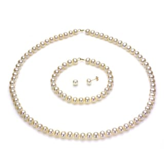 DaVonna 14k Yellow Gold 6-7mm White Freshwater Pearl Necklace Bracelet and Earring Set