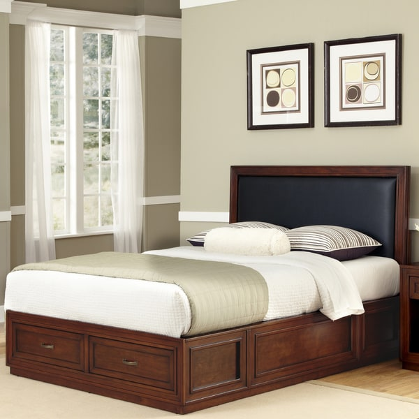 Queen Black Leather Platform Bed by Home Styles