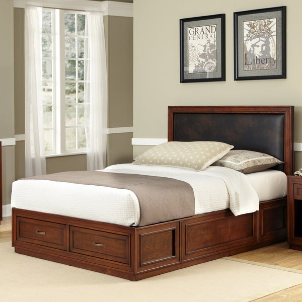 Home Styles Duet Platform King Panel Bed Brown Leather Inset
