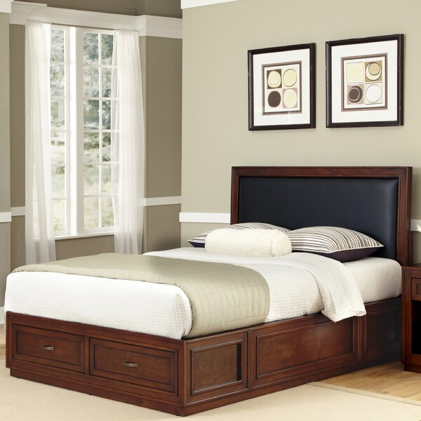 Duet Platform King Panel Bed Black Leather Inset by Home Styles