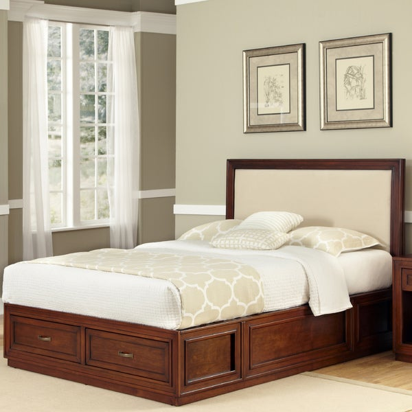 Home Styles Duet Platform King Panel Bed Oyster Microfiber Inset
