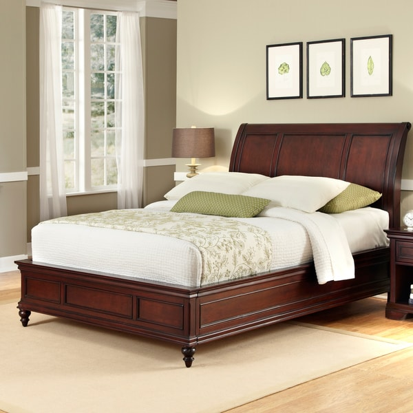 Shop Home Styles Lafayette Cherry-finished Wood Queen-size Sleigh ...