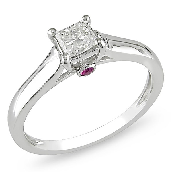 Miadora 14k Gold 1/2ct TDW Diamond and Pink Sapphire Solitaire Ring (G-H, I1-I2)