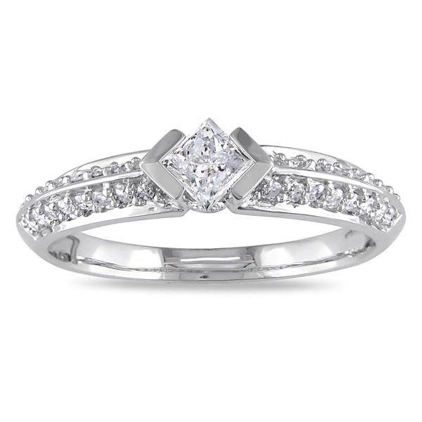 Miadora 14k White Gold 1/2ct TDW Princess Cut Pave Band Diamond Ring