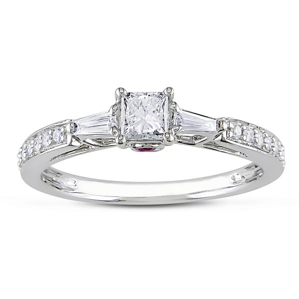 Miadora 14k Gold 1/2ct TDW Diamond and Pink Sapphire Ring (G-H, I1-2)