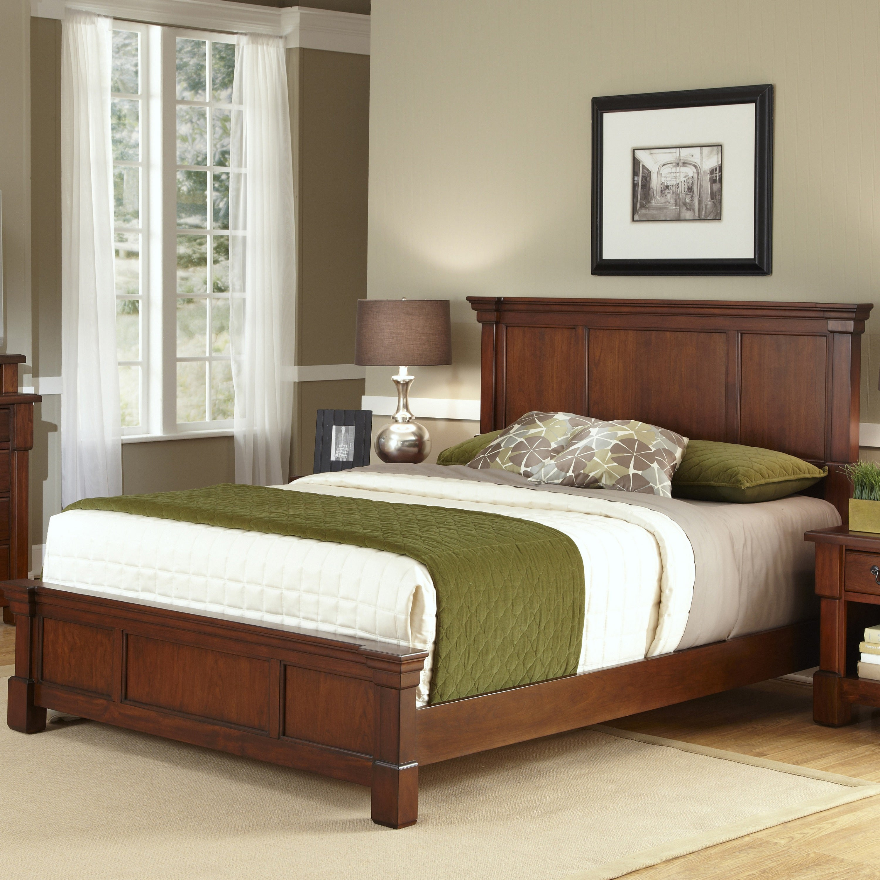 The Aspen Collection Rustic Cherry Queen Bed by Home Styl...