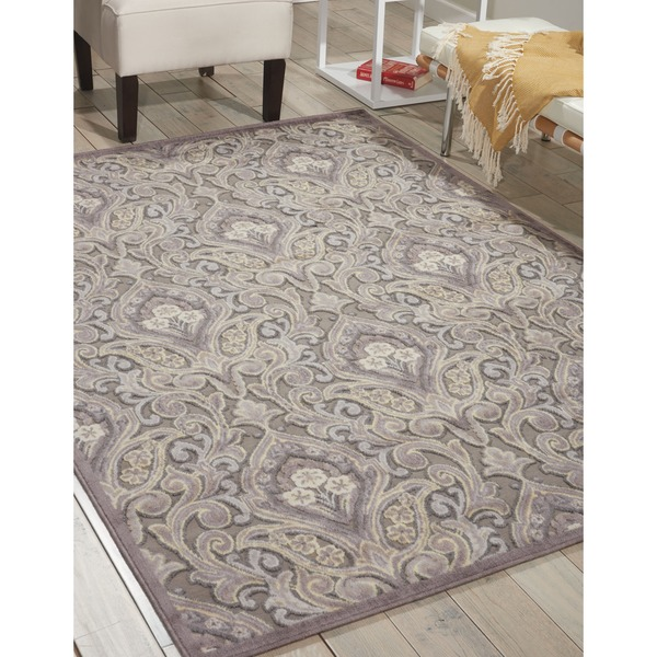 Nourison Graphic Illusions Paisley Multi Grey Rug  (7'9 x 10'10)