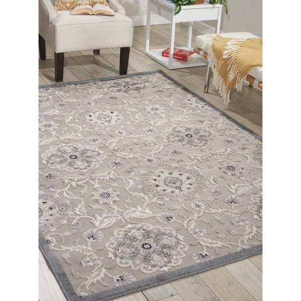 Nourison Graphic Illusions Grey Modern Transitional Rug - 7'9 x 10'10