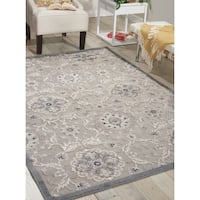 Nourison Graphic Illusions Grey Modern Transitional Rug (7'9 x 10'10) - 7'9 x 10'10