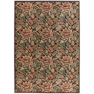 Nourison Graphic Illusions Floral Brown Multi Color Rug (7'9 x 10'10)