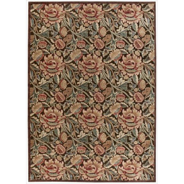 Nourison Graphic Illusions Floral Brown Multi Color Rug (7'9 x 10'10) - 7'9 x 10'10