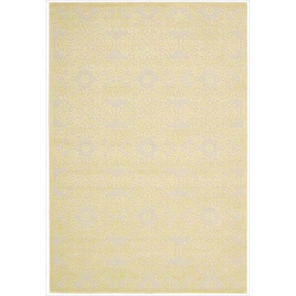 Nourison Graphic Illusions Damask Yellow Cream Rug (3'6 x 5'6)
