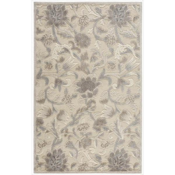 Nourison Graphic Illusions Ivory Floral Pattern Rug (3'6' x 5'6)