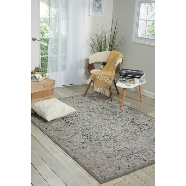 Nourison Graphic Illusions Moasic Grey Rug (3'6 x 5'6)