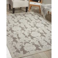 Nourison Graphic Illusions Damask Silver Rug (3'6 x 5'6) - 3'6 x 5'6