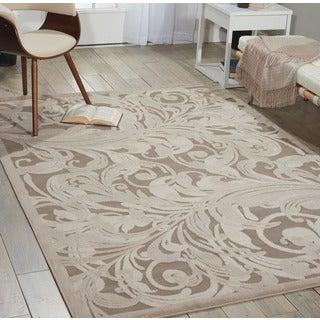 Nourison Graphic Illusions Silver Swirl Transitional Multi Rug (3'6 x 5'6)