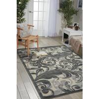 Nourison Graphic Illusions Black Swirl Multi Transitional Rug - 3'6 x 5'6