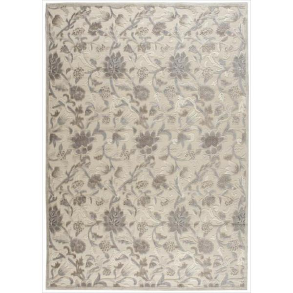 Nourison Graphic Illusions Ivory Floral Pattern Rug (5'3 x 7'5) - 5'3 x 7'5
