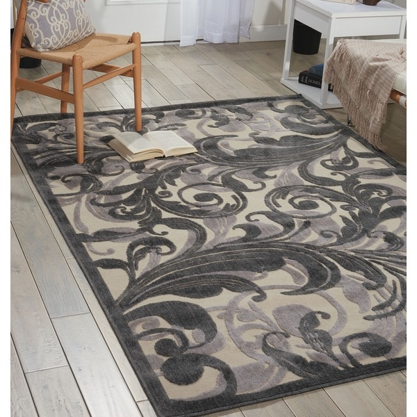 Nourison Graphic Illusions Black Swirl Multi Transitonal Rug (5'3 x 7'5) - 5'3 x 7'5